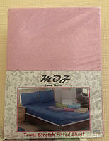Махровая простынь с резинкой 220х240 см и две наволочки 50х70 см цвет розовый MOZ