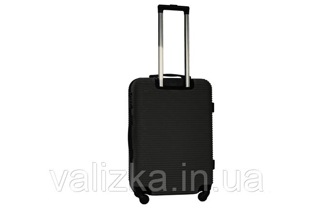 Средний пластиковый чемодан на 4-х колесах черный Fly , фото 2