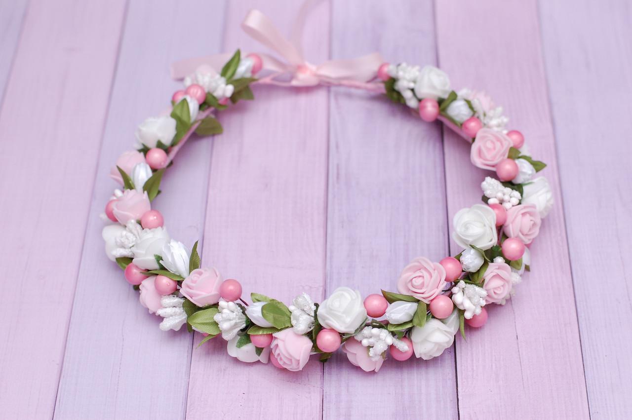Нежный веночек бело-розовый