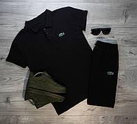 Мужские шорты в стиле Lacoste черные (S, M, L, XL, XXL размеры)