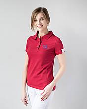 Яркая модная женская федицинская футболка поло с вышивкой