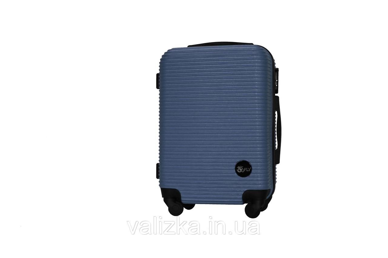 Пластиковый чемодан на 4-х колесах Fly ручная кладь синий, размер S