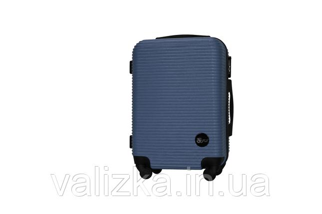 Пластиковый чемодан на 4-х колесах Fly ручная кладь синий, размер S, фото 2