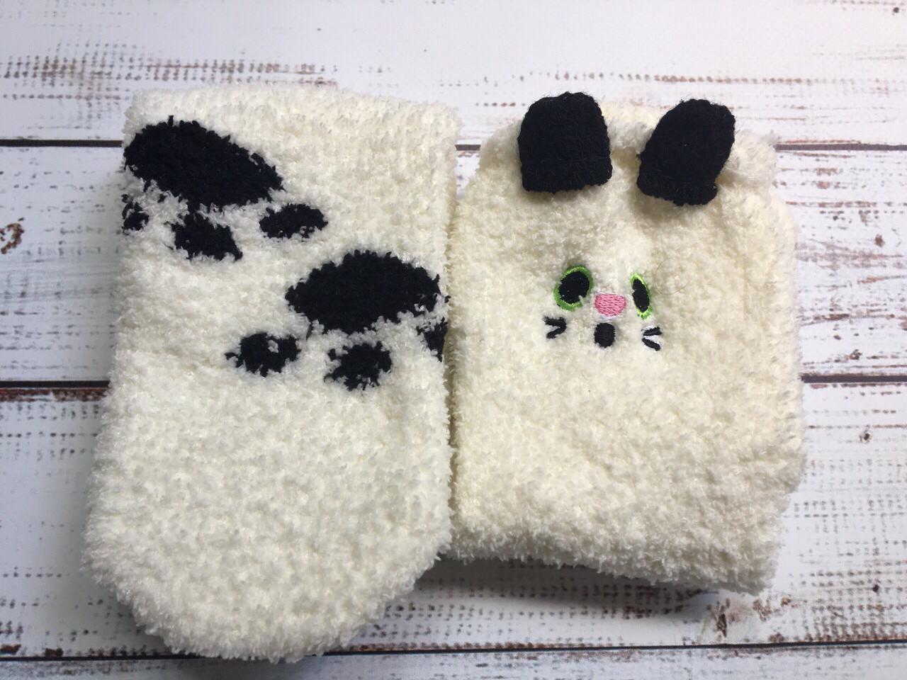 """Женские/детские милые махровые носки в виде кота """"CuteCat"""" (белый)"""
