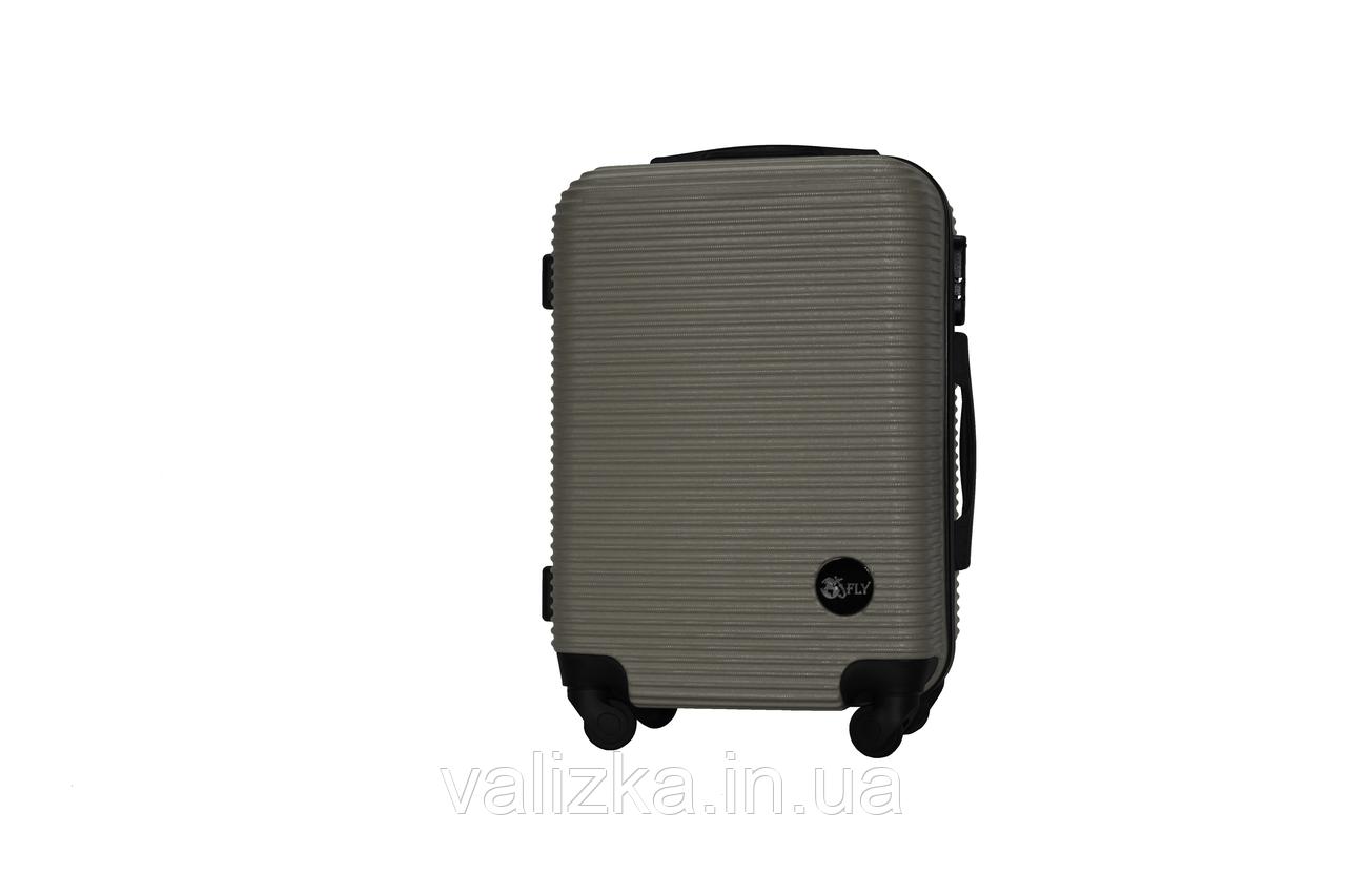 Пластиковый чемодан на 4-х колесах Fly ручная кладь, размер S серый