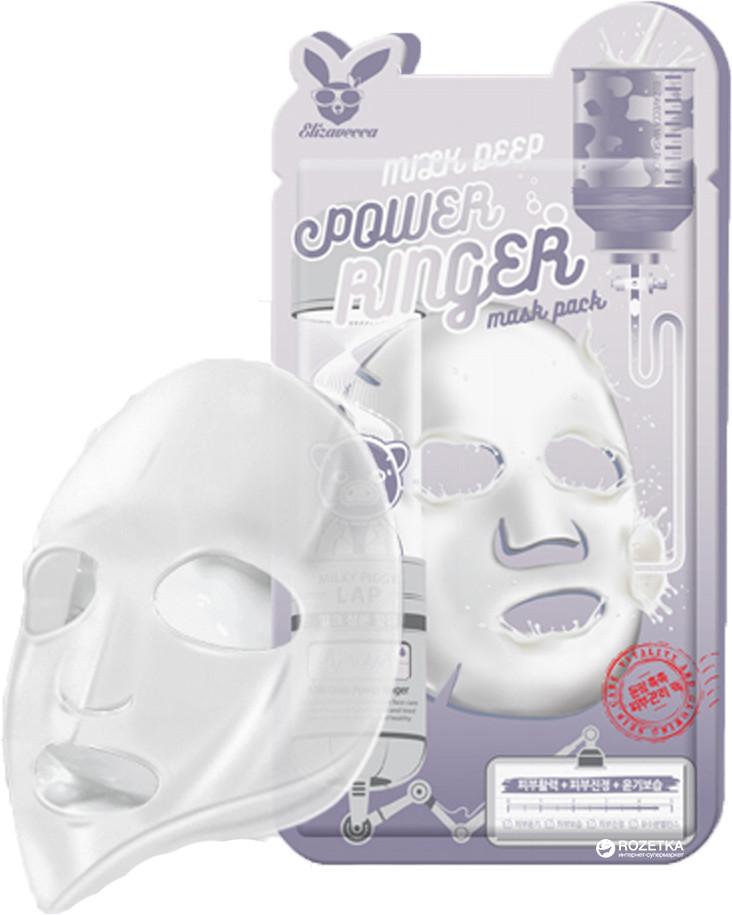 Осветляющая тканевая маска для лица с молочными протеинами ELIZAVECCA MILK DEEP POWER RINGER MASK PACK