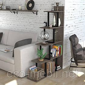 Стелаж приставний для дому чи офісу L-160 Loft Design Чорний Матовий / Дуб Палєна