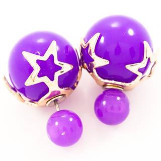 Серьги-пусеты Dior фиолетовые со звездами