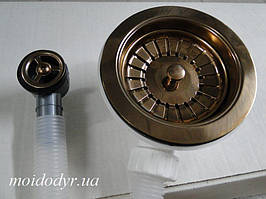 Евро вентиль (сифон) с переливом (красное золото)