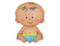 """Фольгированный шар на выписку мальчика из роддома """"малыш"""" с гелием"""