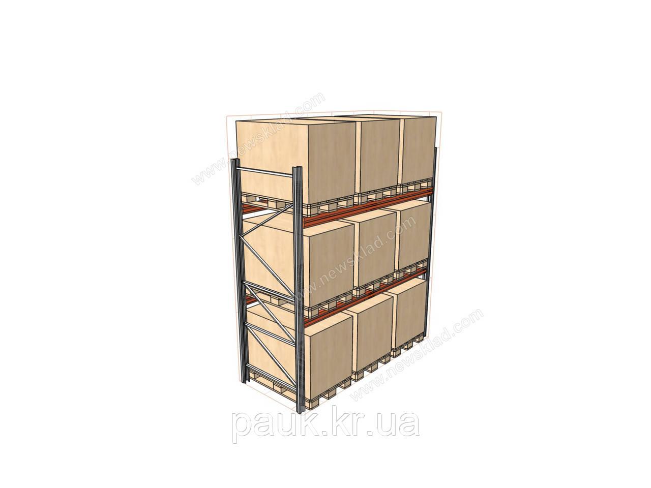 Стелаж палетний H4000хL2700х1100 мм(пол.+2 рівня по 2300 кг на рівень)