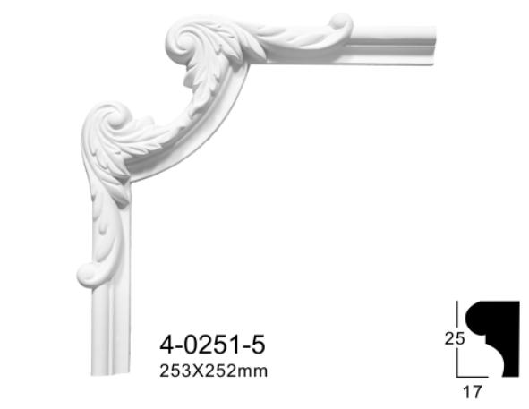 Кутовий елемент Classic Home 4-0251-5 , ліпний декор з поліуретану 253*252