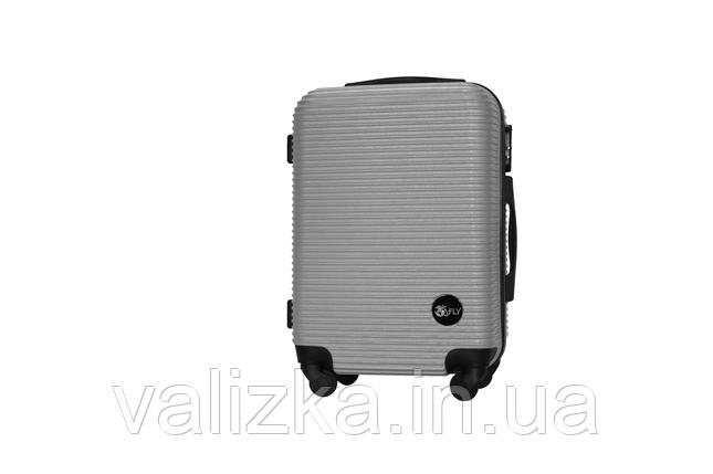 Пластиковый чемодан на 4-х колесах Fly ручная кладь, размер S  серебро, фото 2