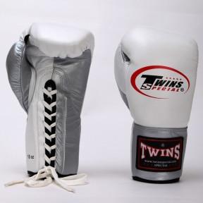 Перчатки боксерские кожаные на шнуровке TWIN BO-0279-S