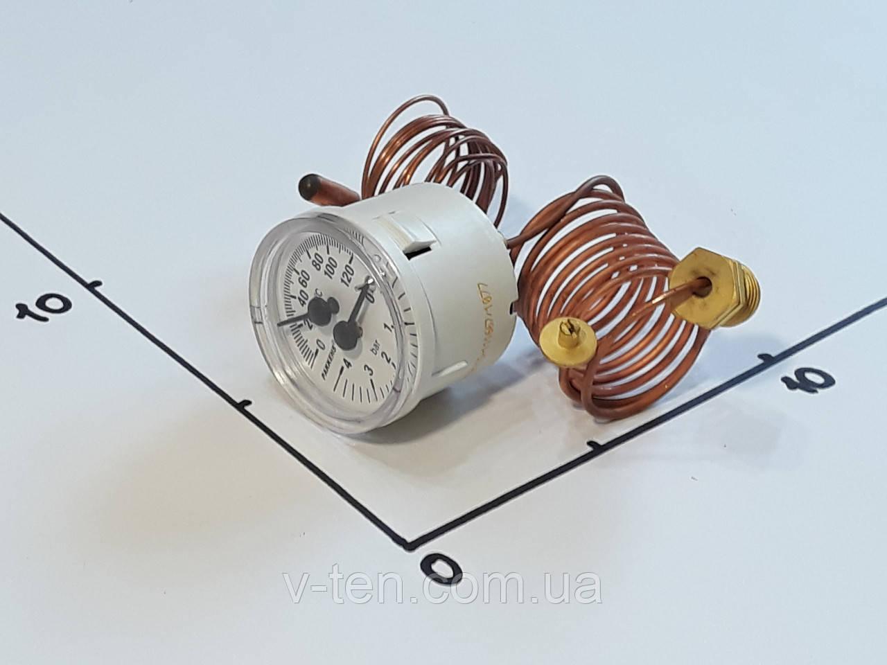 Термоманометр Ø40мм / 120°С / 0-4 бар / L-100 cм капиллярный PAKKENS (Турция)