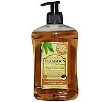 A La Maison de Provence, Жидкое мыло для рук и тела, чистый кокос, 16,9 жидких унций (500 мл)