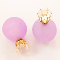 Серьги-пусеты Dior с камнем сиреневые
