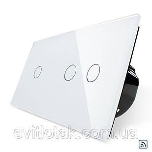 Сенсорный радиоуправляемый выключатель 3 канала (1-2) Livolo белый стекло (VL-C701R/C702R-11)