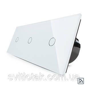 Сенсорный радиоуправляемый выключатель Livolo 3 канала (1-1-1) белый стекло (VL-C701R/C701R/C701R-11)