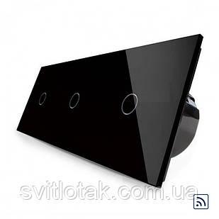 Сенсорный радиоуправляемый выключатель Livolo 3 канала (1-1-1) черный стекло (VL-C701R/C701R/C701R-12)