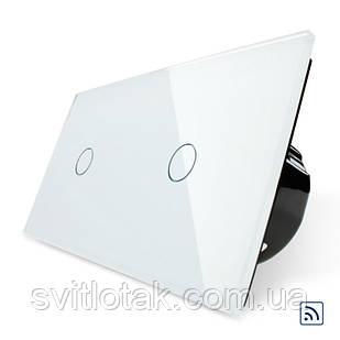 Сенсорный радиоуправляемый выключатель 2 канала (1-1) Livolo белый стекло (VL-C701R/C701R-11)