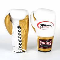 Перчатки боксерские кожаные на шнуровке TWIN BO-0279-GD