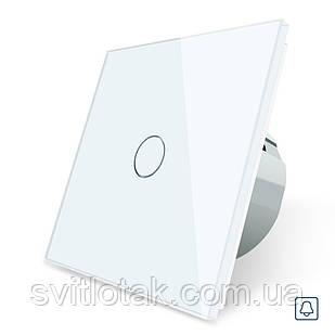 Сенсорная кнопка Импульсный выключатель Мастер кнопка Проходной диммер Livolo белый стекло (VL-C701H-11)