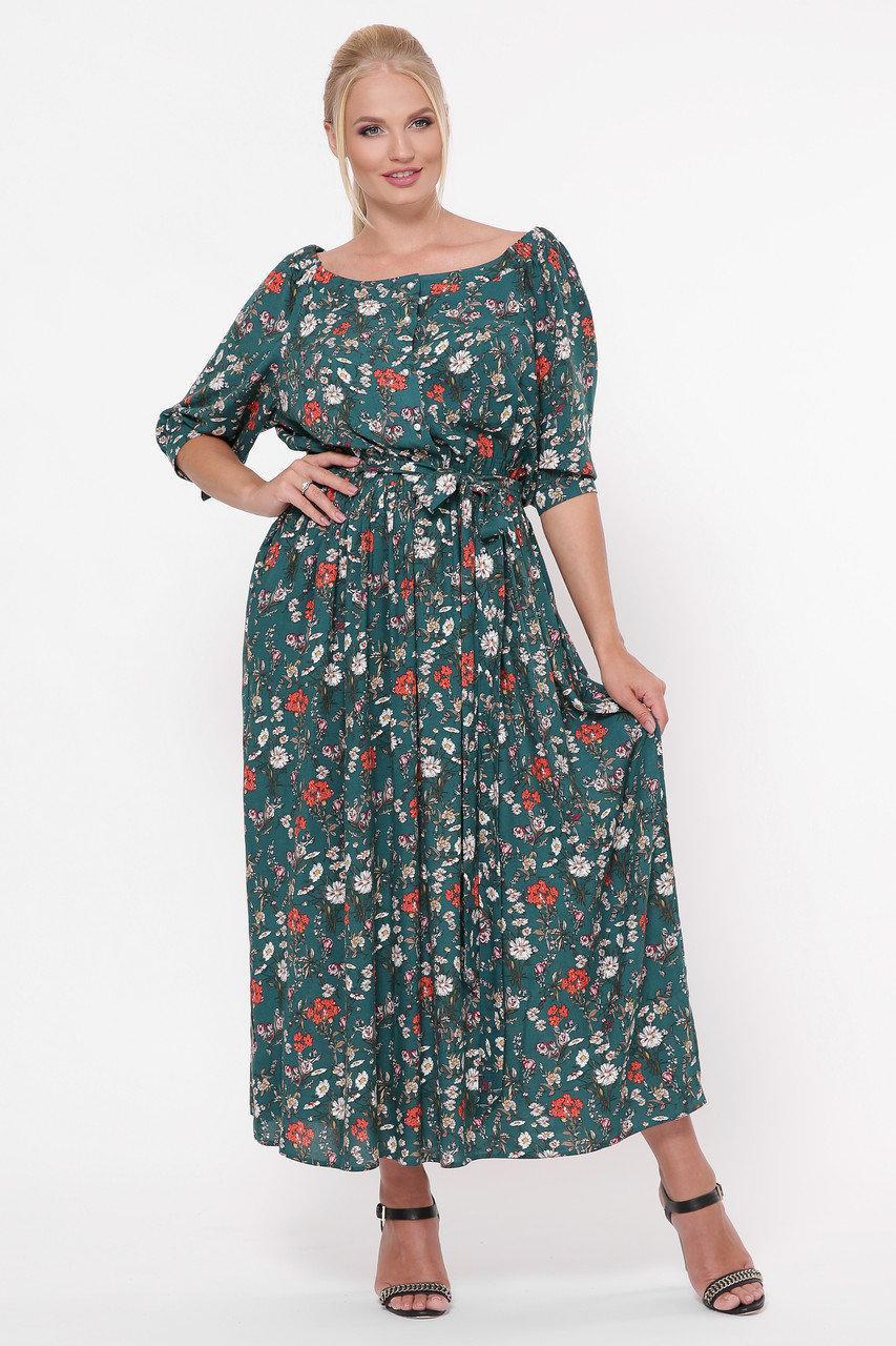 Платье в пол Снежанна Изумрудное поле Размеры   52, 54, 56, 58