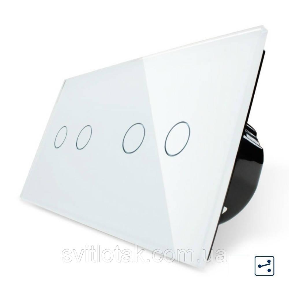Сенсорный проходной выключатель Livolo 4 канала (2-2) белый стекло (VL-C702S/C702S-11)
