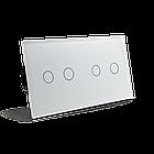 Сенсорный проходной выключатель Livolo 4 канала (2-2) белый стекло (VL-C702S/C702S-11), фото 3