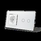 Сенсорный выключатель Livolo 2 канала с розеткой белый хром стекло (VL-C702/C7C1EU-11C), фото 2