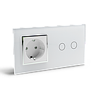 Сенсорный выключатель Livolo 2 канала с розеткой белый хром стекло (VL-C702/C7C1EU-11C), фото 3