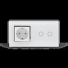 Сенсорный выключатель Livolo 2 канала с розеткой белый хром стекло (VL-C702/C7C1EU-11C), фото 4