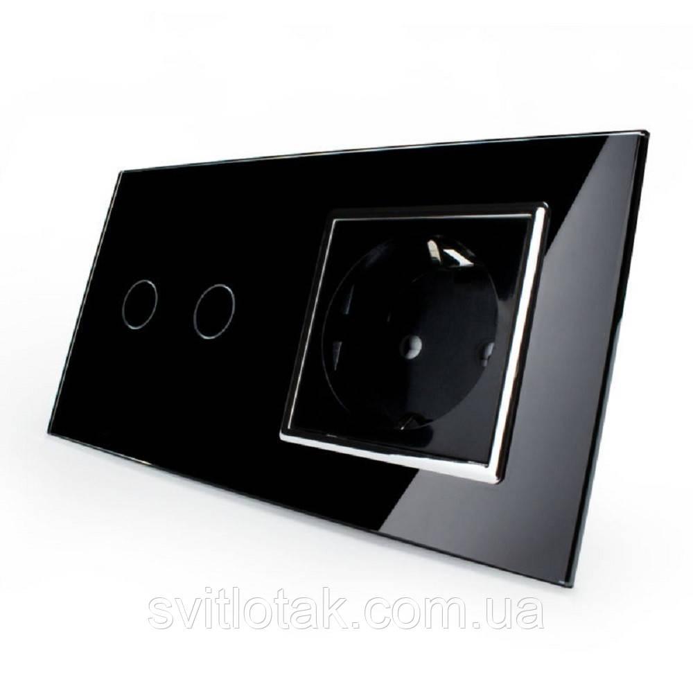 Сенсорний вимикач на 2 канали з розеткою Livolo, колір чорний, хром, скло (VL-C702/C7C1EU-12C)
