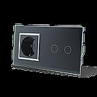 Сенсорний вимикач на 2 канали з розеткою Livolo, колір чорний, хром, скло (VL-C702/C7C1EU-12C), фото 2