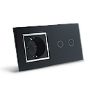 Сенсорний вимикач на 2 канали з розеткою Livolo, колір чорний, хром, скло (VL-C702/C7C1EU-12C), фото 3