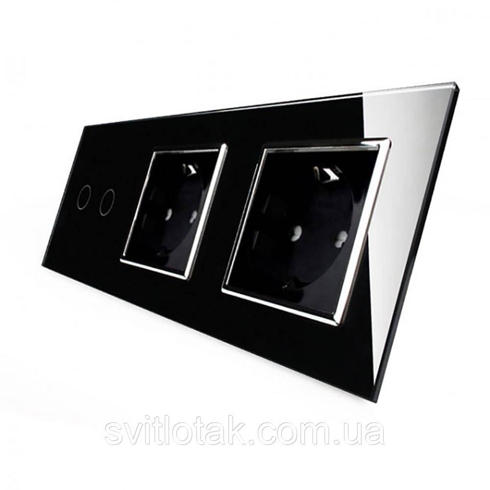 Сенсорный выключатель Livolo 2 канала 2 розетки черный хром стекло (VL-C702/C7C2EU-12C)