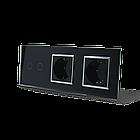 Сенсорный выключатель Livolo 2 канала 2 розетки черный хром стекло (VL-C702/C7C2EU-12C), фото 2