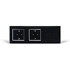 Сенсорный выключатель Livolo 2 канала 2 розетки черный хром стекло (VL-C702/C7C2EU-12C), фото 4