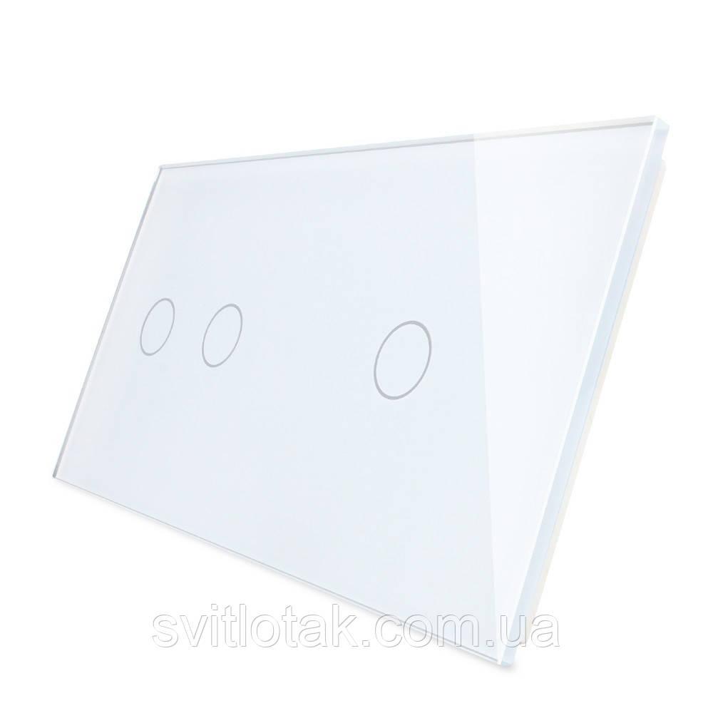 Сенсорная панель выключателя Livolo 3 канала (2-1) белый стекло (VL-C7-C2/C1-11)