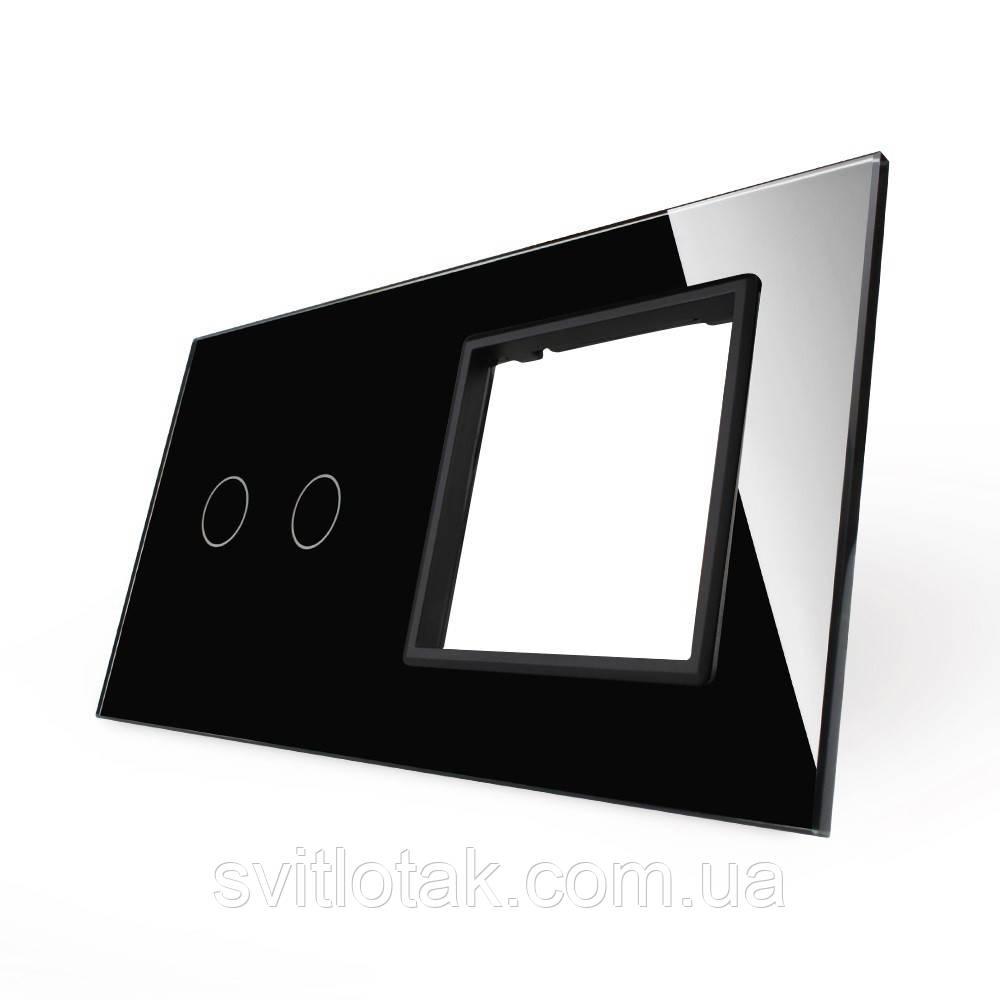 Сенсорная панель выключателя Livolo 2 канала и розетки (2-0) черный стекло (VL-C7-C2/SR-12)