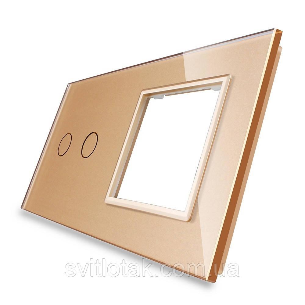 Сенсорная панель выключателя Livolo 2 канала и розетки (2-0) золото стекло (VL-C7-C2/SR-13)