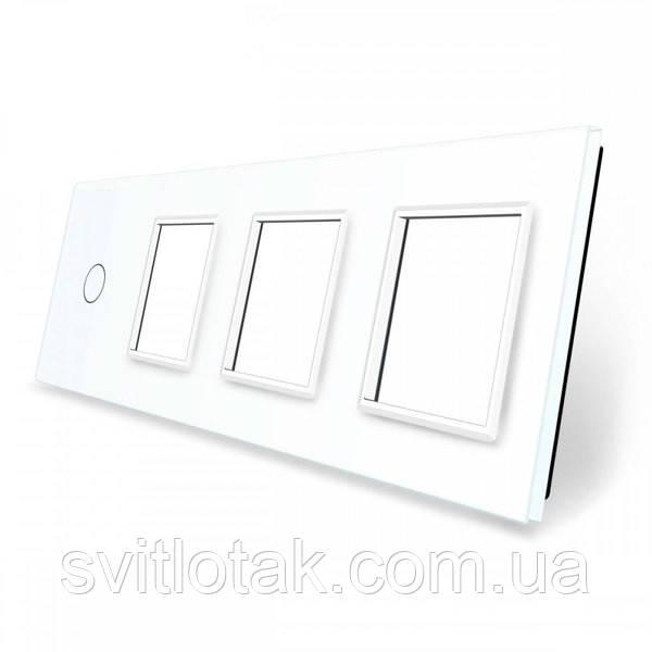 Сенсорная панель выключателя Livolo и трех розеток (1-0-0-0) белый стекло (VL-C7-C1/SR/SR/SR-11)