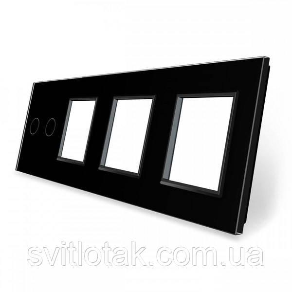 Сенсорная панель выключателя Livolo 2 канала и трех розеток (2-0-0-0) черный стекло (VL-C7-C2/SR/SR/SR-12)