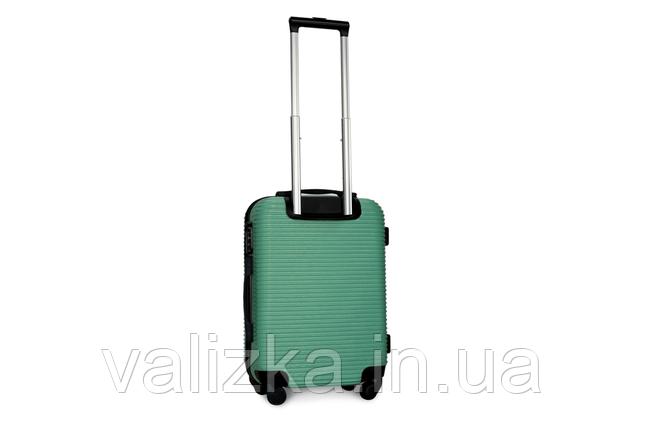 Пластиковый чемодан ручная кладь на 4-х колесах зеленый, размер S+ Fly, фото 2