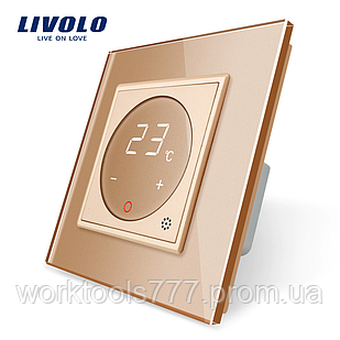 Терморегулятор сенсорний Livolo для водяних систем опалення колір золото (VL-C701TM-13)