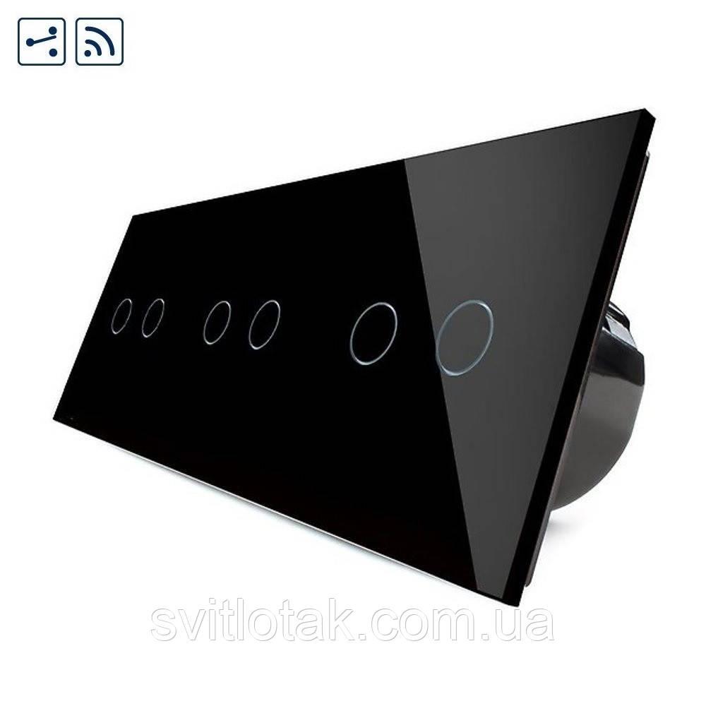 Сенсорный радиоуправляемый проходной выключатель Livolo 6 каналов (2-2-2) черный стекло (VL-C706SR-12)