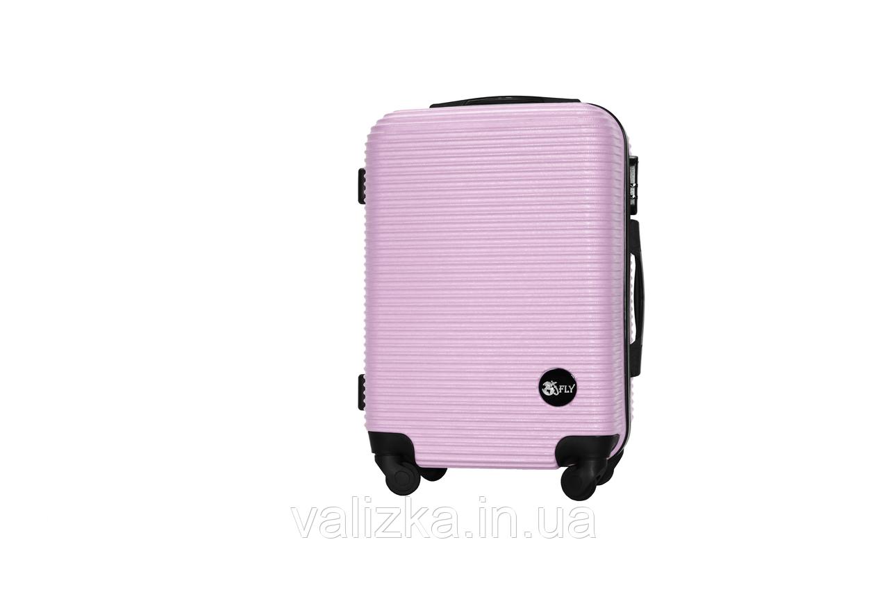 Пластиковый чемодан ручная кладь на 4-х колесах светло-розовый, размер S+ Fly