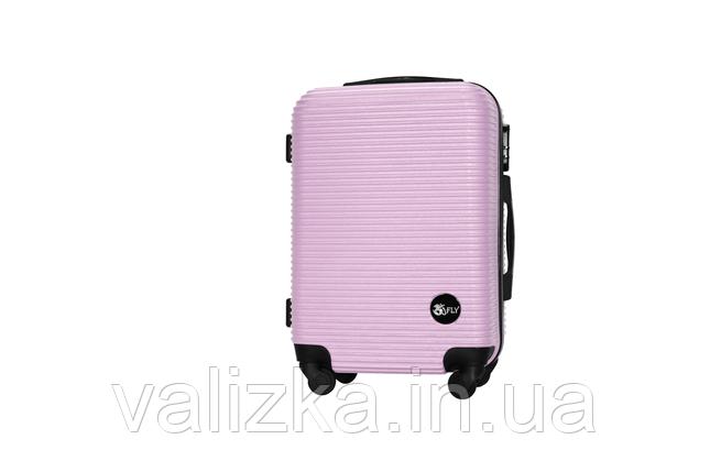 Пластиковый чемодан ручная кладь на 4-х колесах светло-розовый, размер S+ Fly, фото 2