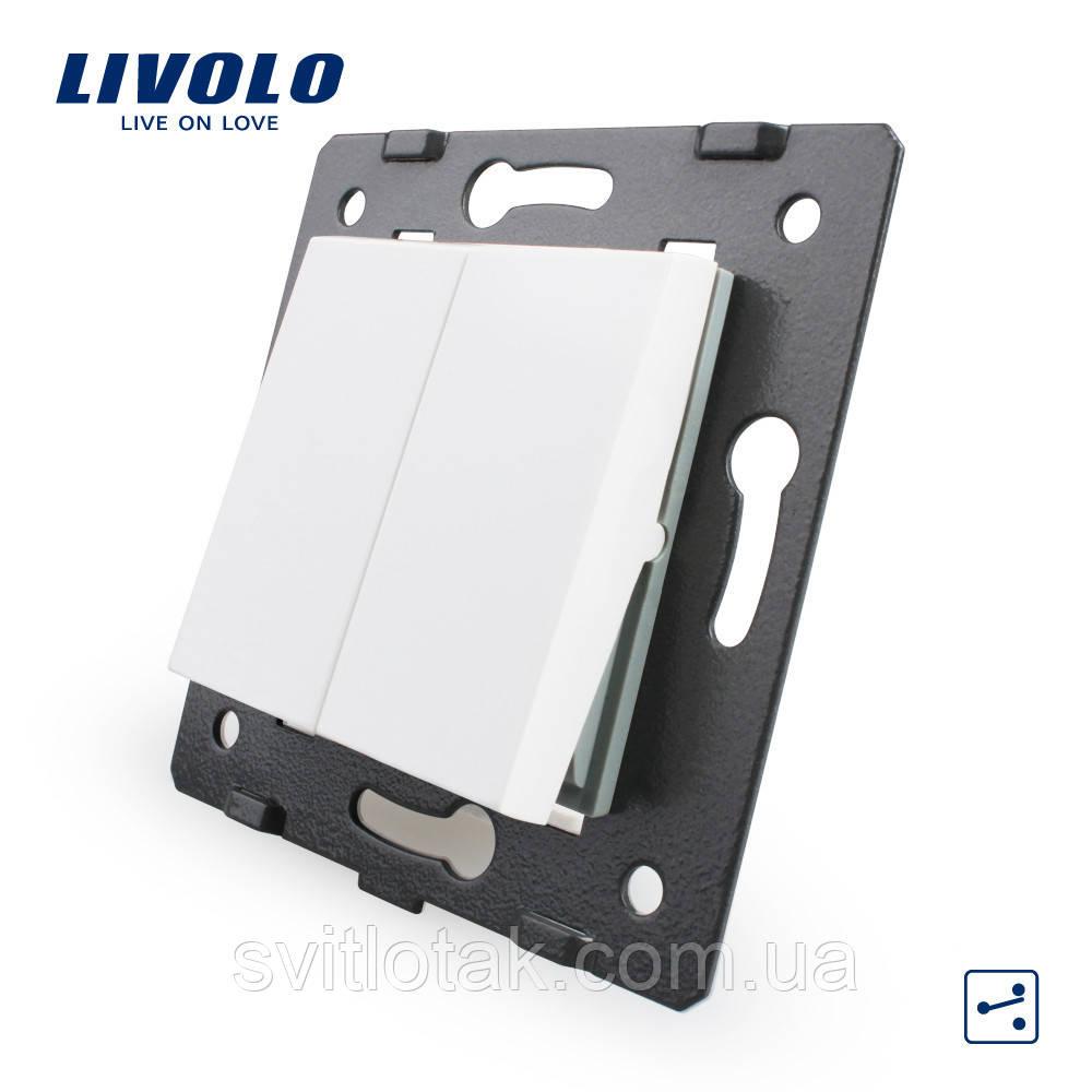 Механизм двух-клавишный механический проходной выключатель Livolo белый (VL-C7K2S-11)
